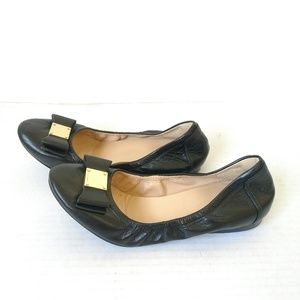 Cole Haan Tali black ballet flats bow leather